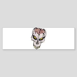 Cracked Skull Brain Exposed Sticker (Bumper)