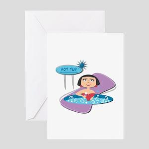 Retro Hot Tub Girl Greeting Card