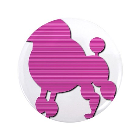 "Retro Pink Poodle 3.5"" Button"