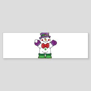 Silly Happy Snowman Sticker (Bumper)