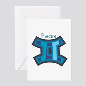 Striped Blue Pisces Symbol Greeting Card