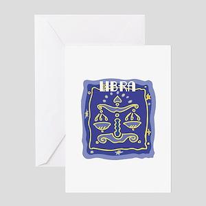 Blue Libra Zodiac Symbol Greeting Card