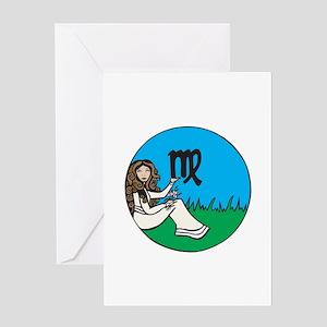 Circle Virgo Symbol Greeting Card