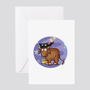 Silly Taurus Bull Greeting Card