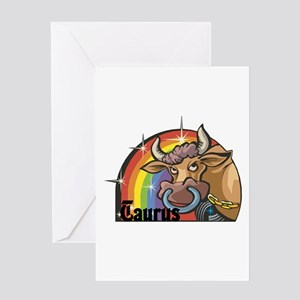 Taurus Bull With Rainbow Greeting Card