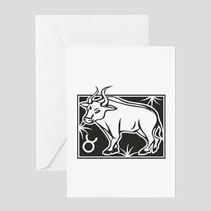 Black & White Taurus Greeting Card