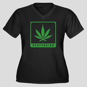Vegetarian Women's Plus Size V-Neck Dark T-Shirt