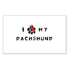 I *heart* My Dachshund Sticker (Rectangle)