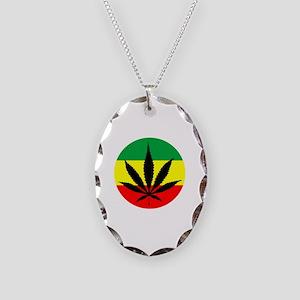 Rasta Marijuana Necklace Oval Charm