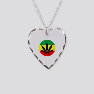 Rasta Marijuana Necklace Heart Charm