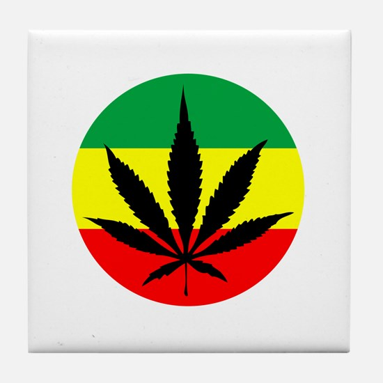Rasta Marijuana Tile Coaster