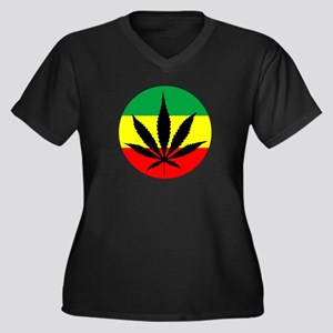 Rasta Marijuana Women's Plus Size V-Neck Dark T-Sh