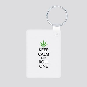 Keep calm and roll one Aluminum Photo Keychain