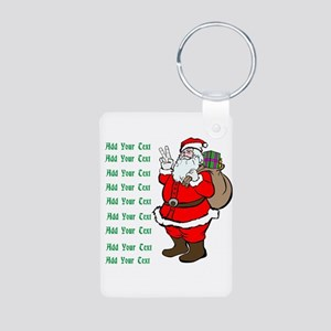 Add Your Own Text Santa Aluminum Photo Keychain