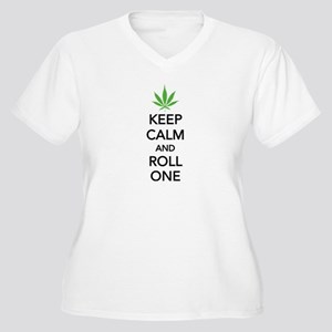 Keep calm and roll one Women's Plus Size V-Neck T-
