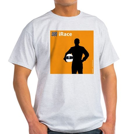 iRace Orange Race Car Driver Ash Grey T-Shirt