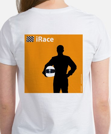 iRace Orange Race Car Driver Women's T-Shirt