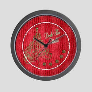 Red Knit Deck the Halls Wall Clock