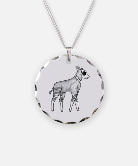 Okapi Necklace Circle Charm