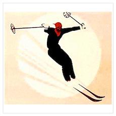 Vintage Ski Skiing Skier Poster