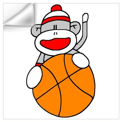 Sock Monkey with Basketball Wall Decal