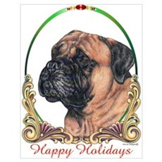Bullmastiff Holiday Poster