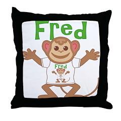 Little Monkey Fred Throw Pillow