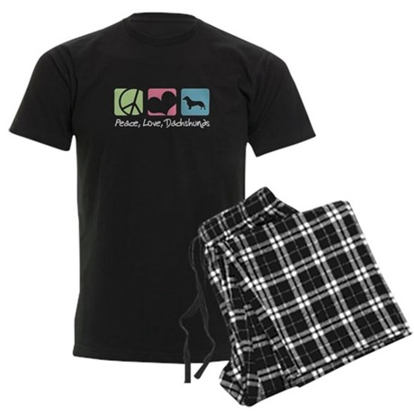 Peace, Love, Dachshunds Men's Dark Pajamas