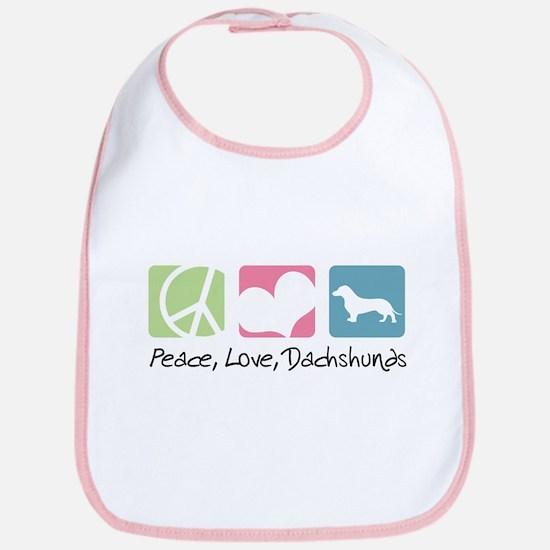Peace, Love, Dachshunds Bib
