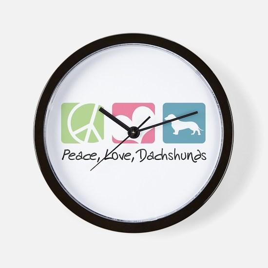 Peace, Love, Dachshunds Wall Clock