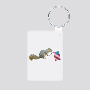 Squirrel with Flag Aluminum Photo Keychain
