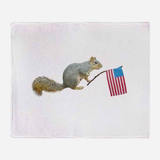 Squirrel with Flag Throw Blanket