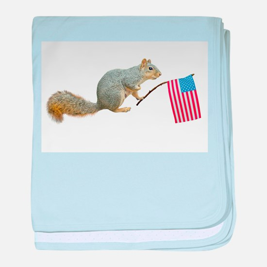 Squirrel with Flag baby blanket