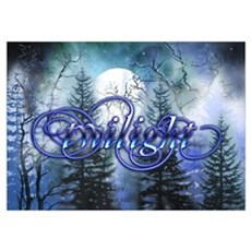 Moonlight Twilight Forest Poster