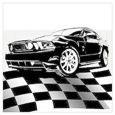 2011 Mustang Flag Poster