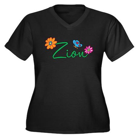 Zion Flowers Women's Plus Size V-Neck Dark T-Shirt