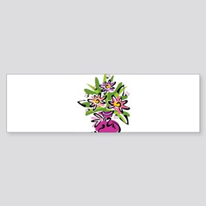 Flowers in a Pink Vase Bumper Sticker