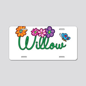 Willow Flowers Aluminum License Plate