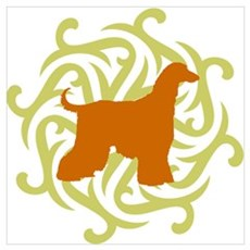 Lime & Rust Afghan Hound Poster