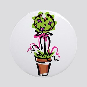 Pink Flower Topiary Ornament (Round)