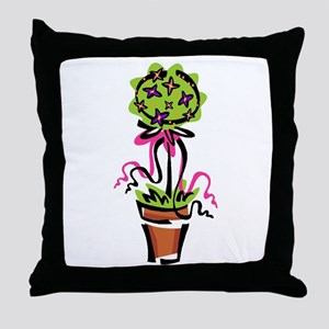 Pink Flower Topiary Throw Pillow