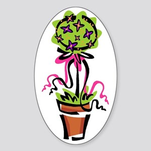 Pink Flower Topiary Oval Sticker