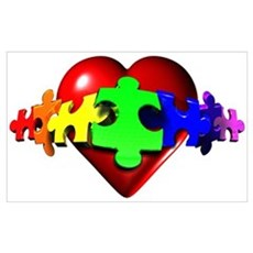 3D Heart Puzzle Poster