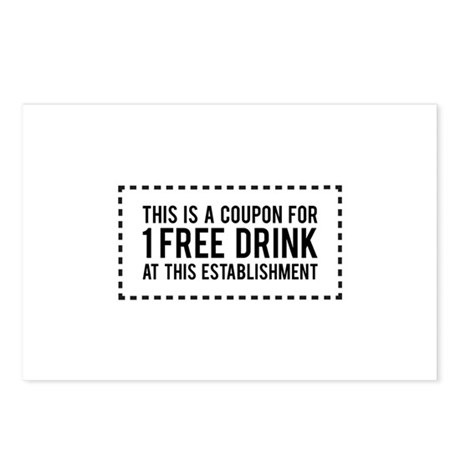 1 Free Drink Coupon Postcards (Package of 8) by