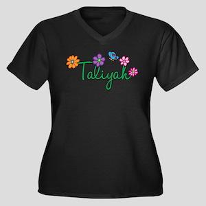 Taliyah Flowers Women's Plus Size V-Neck Dark T-Sh
