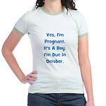 Pregnant w/ Boy due October Jr. Ringer T-Shirt
