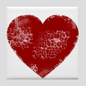 Distressed Heart Tile Coaster