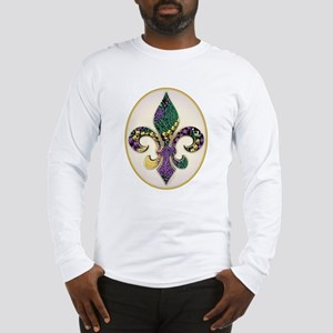 Fleur de lis Mardi Gras Beads Long Sleeve T-Shirt