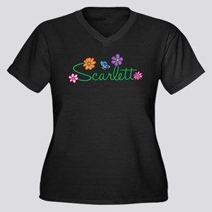 Scarlett Flowers Women's Plus Size V-Neck Dark T-S