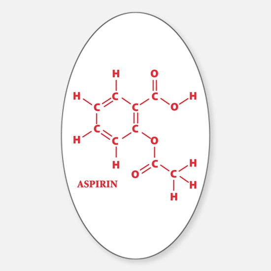 Aspirin Molecule Oval Decal